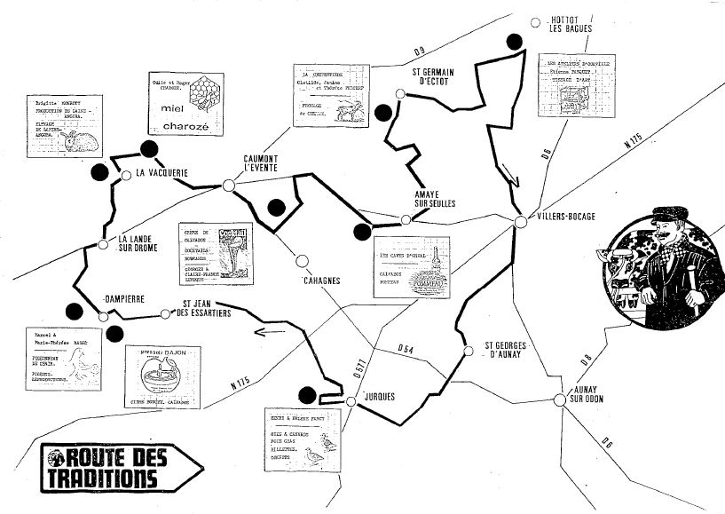 Carte de la route des traditions en 1992
