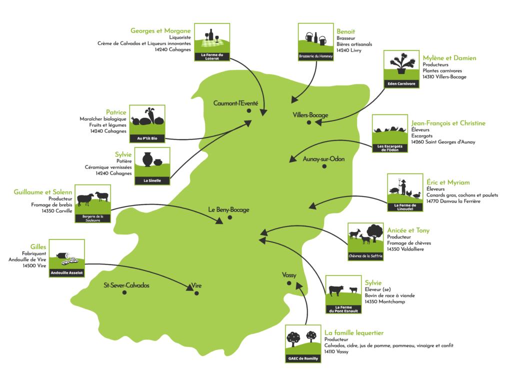 Carte Route des Traditions - Producteurs et Artisans